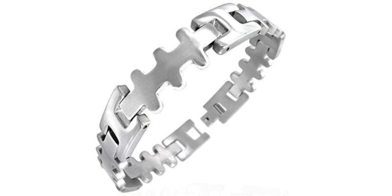 Stainless Steel Geometric Cross Link Bracelet