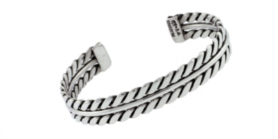 Double Rope Silver Bangle
