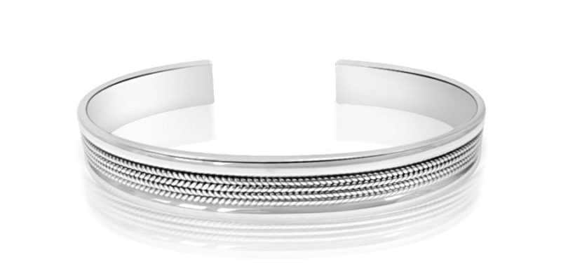 Sterling Silver Bangle Bracelet Classic Style with Alfred & Co. Jewellery Box