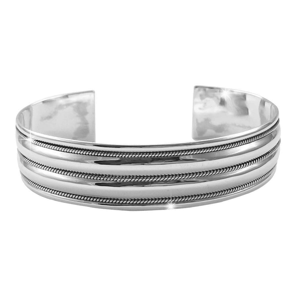 Ladies Silver Bangle Wide