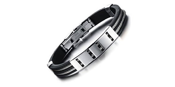 Black Rubber Bracelet with Stainless Steel Cable