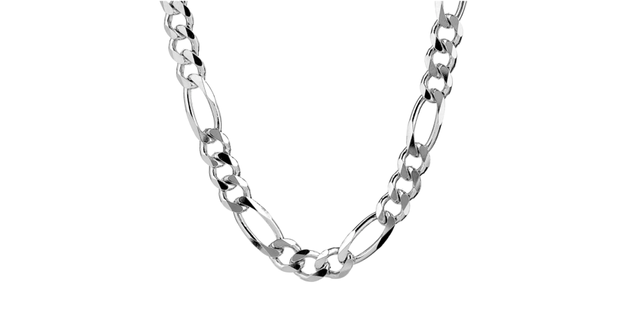 Silver Chain – 9.2mm Width, Figaro Style