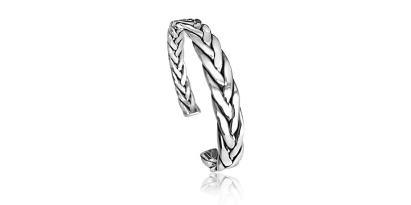 Silver Bangle Twisted Oxidized Style with Alfred & Co. Jewellery Box