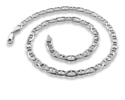 Thick Silver Marina Necklace - 6.8mm.