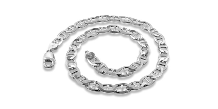 Thick Silver Necklace Mariner Style – 10.8mm Width