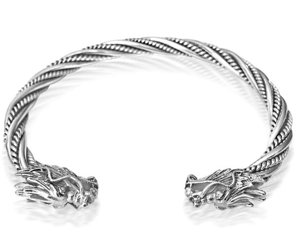 Dragon Bangle - Sterling Silver Twisted Design