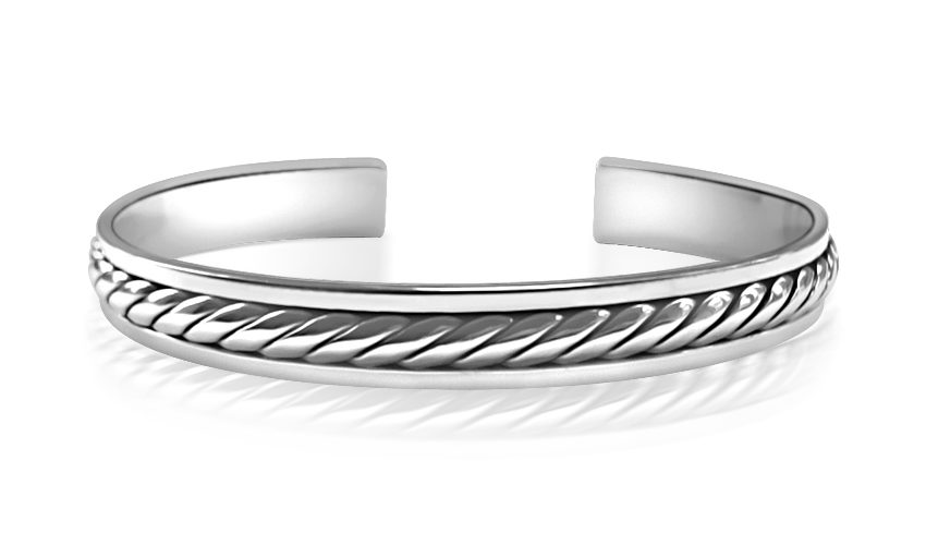 Silver Bangle Rope Style