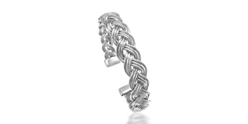 Silver Bangle Weaved Style