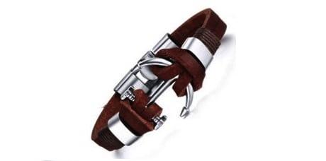 Brown Leather Anchor Bracelet