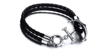 Anchor Bracelet Black Leather