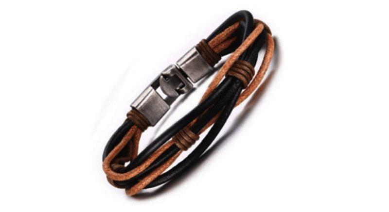 Black & Brown Leather Bracelet