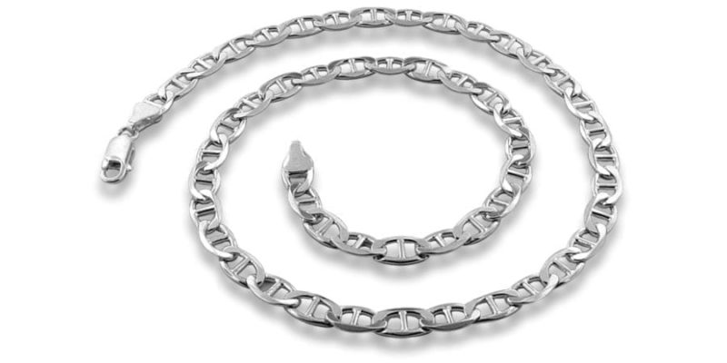 Sterling Silver Necklace Mariner Style – 3.7mm Width