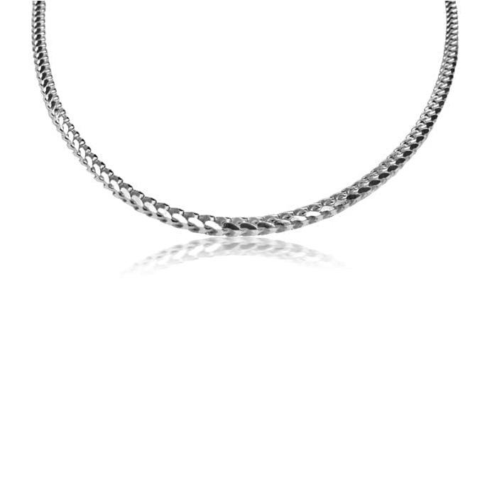 Franco Chain in Sterling Silver – 3.5mm Width – Mens Chain – Ladies Necklace – 20/22 Inch