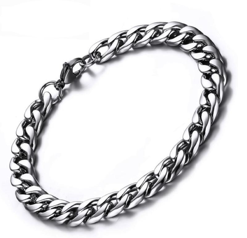 Mens Silver Bracelet – Stainless Steel – 7mm Width – CubanSlim©