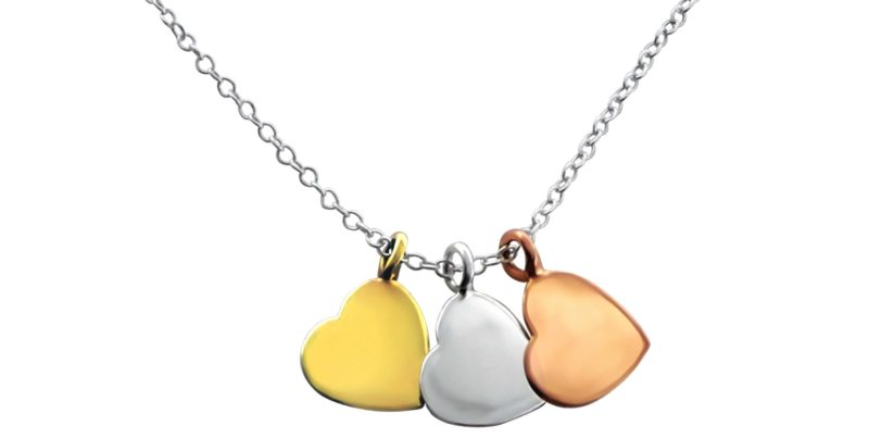 Silver Love Hearts Pendant Necklace with Alfred & Co. Jewellery Pouch