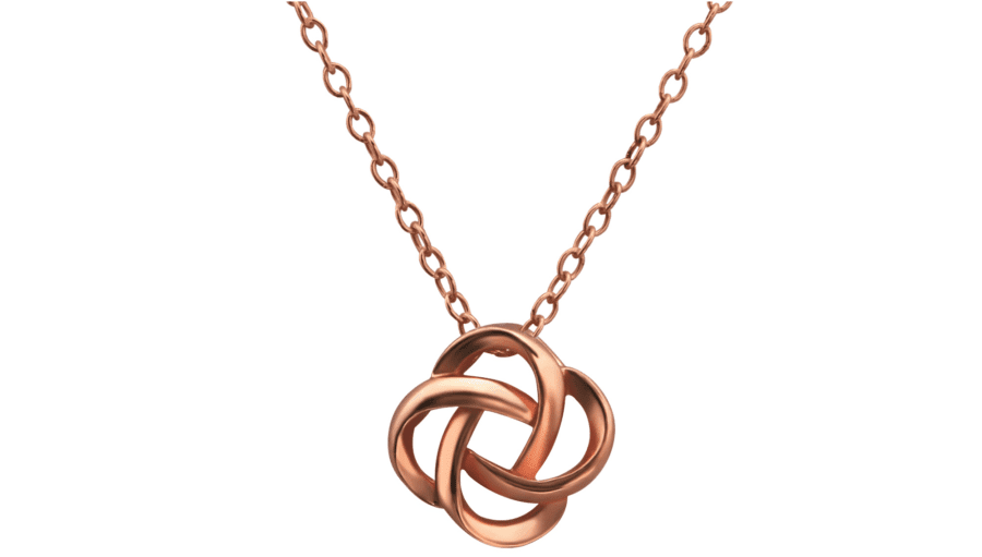 Silver Knot Necklace in Rose Gold