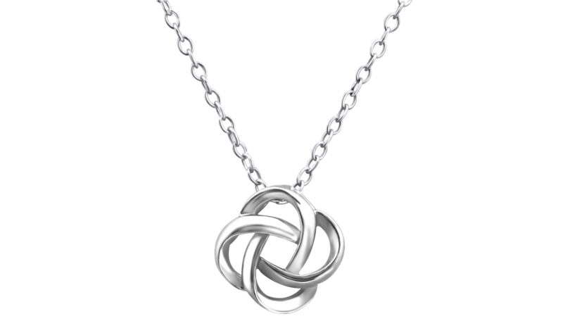 Silver Knot Necklace For Women with Alfred & Co. Jewellery Pouch