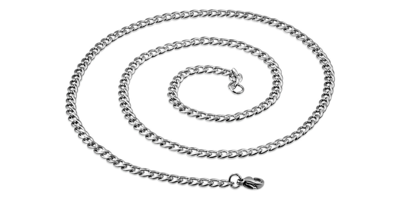 Men's Silver Necklace Curb Stainless Steel
