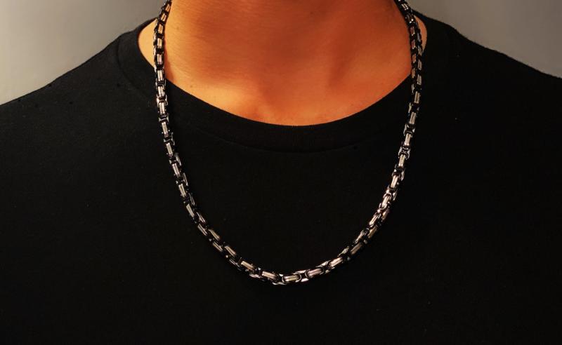 Mens Silver Black Necklace - Byzantine