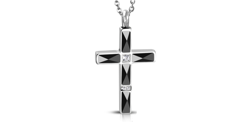 Mens Black Cross Necklace Deluxe with Alfred & Co. Jewellery Box