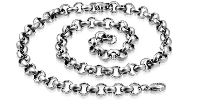 Mens Silver Steel Chain Looper Style