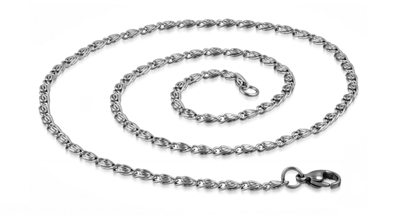 Mens Silver Necklace Steel Sleek Style