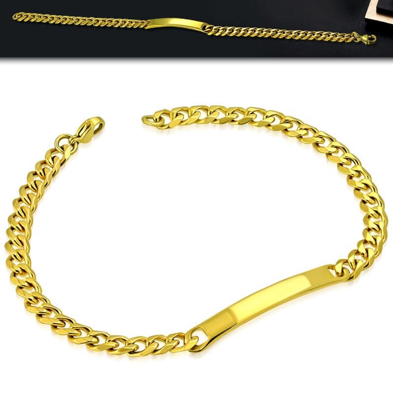 Mens Gold ID Bracelet