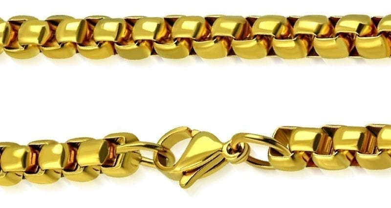 Mens Gold Plated Necklace Rolo Style