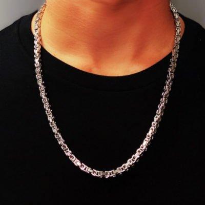 Mens Silver Necklace - Byzantine Style