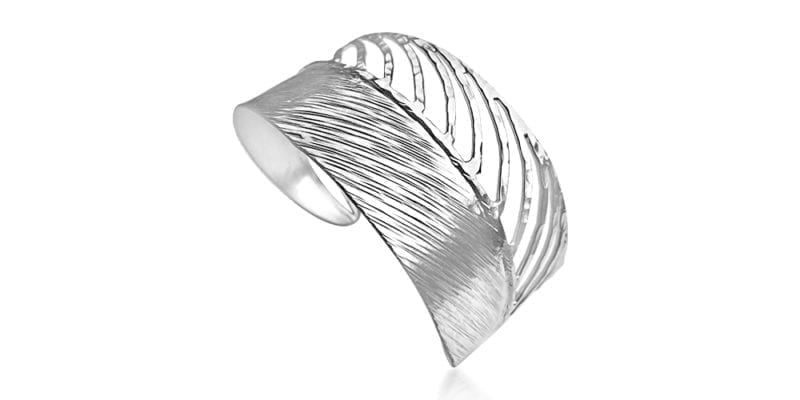 Feather Bangle in Sterling Silver