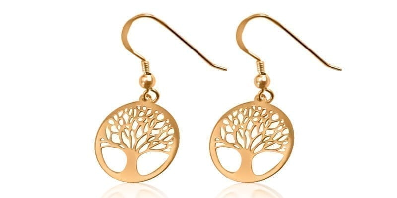 Mulberry Tree of Life Earrings Rose Gold