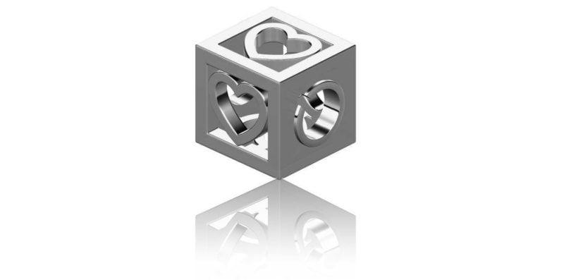 Love Heart Cube Charm