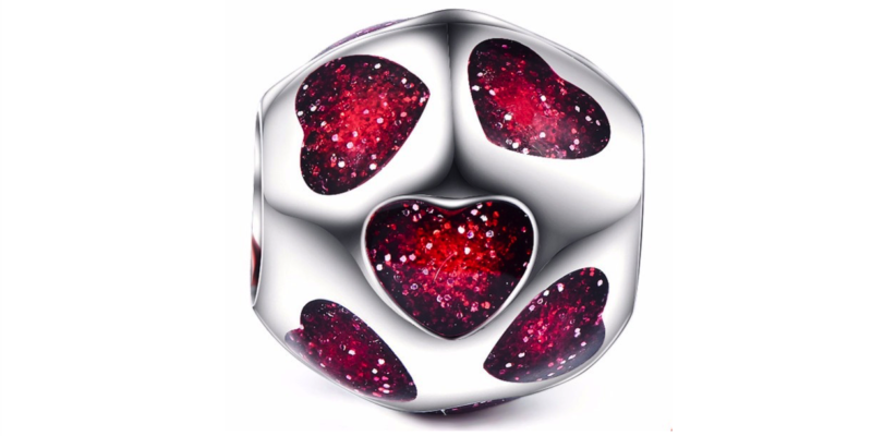 Hearts Charm – Sterling Silver