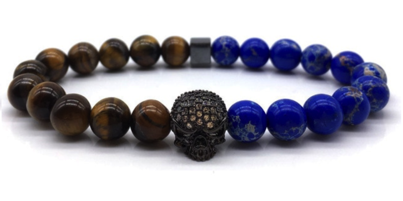 Blue & Brown Skull Bracelet