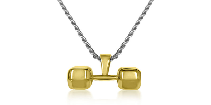 Gold Plated Dumbbell Necklace