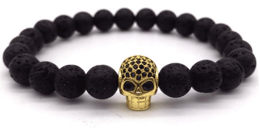 Skull Bracelet Black & Gold