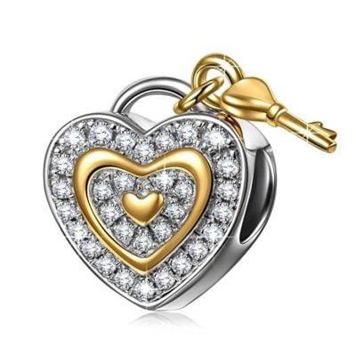 Heart & Key Charm
