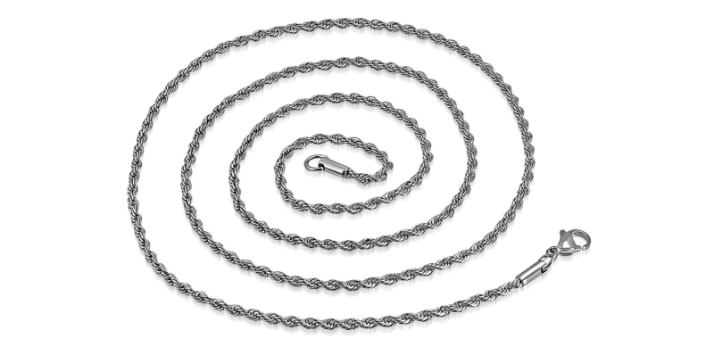 Mens Silver Necklace Twisted Rope