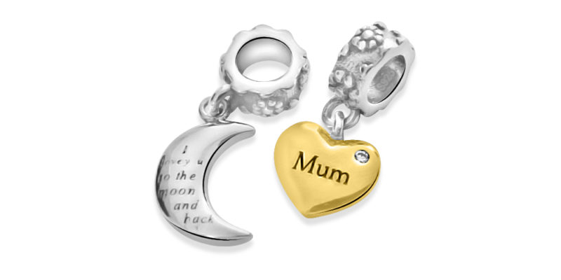 I Love You To The Moon and Back Charm – Sterling Silver