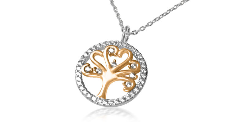 Silver & Rose Gold Mulberry Tree of Life Necklace