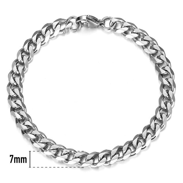 Mens Silver Bracelet – Stainless Steel Silver Curb Style, 7mm Width – ice©