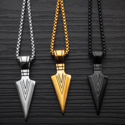Spear Necklace - Silver, Gold, Black