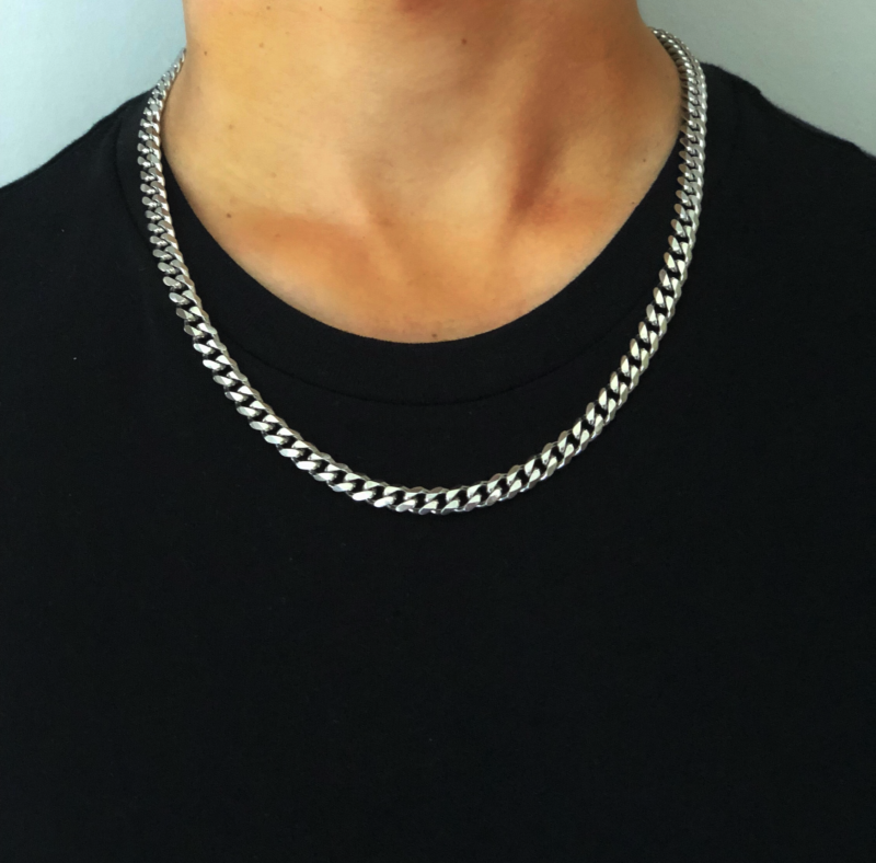 Mens Silver Chain Necklace – Stainless Steel Curb Style, 7mm Width – ice©