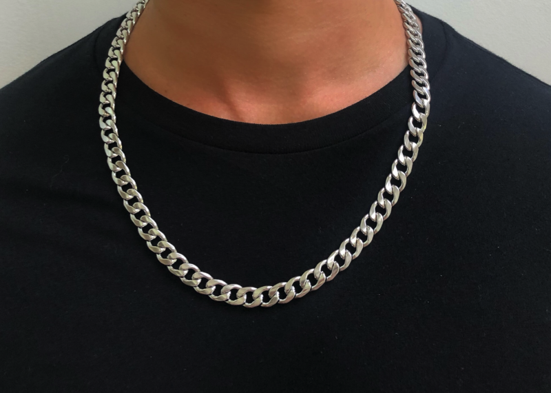 Mens Silver Necklace Chain – Stainless Steel Curb Style, 9mm Width – CubanX©