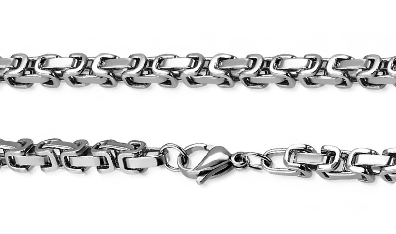 Mens Silver Bracelet – Stainless Steel Silver Byzantine Style, 5mm Width – Storm©