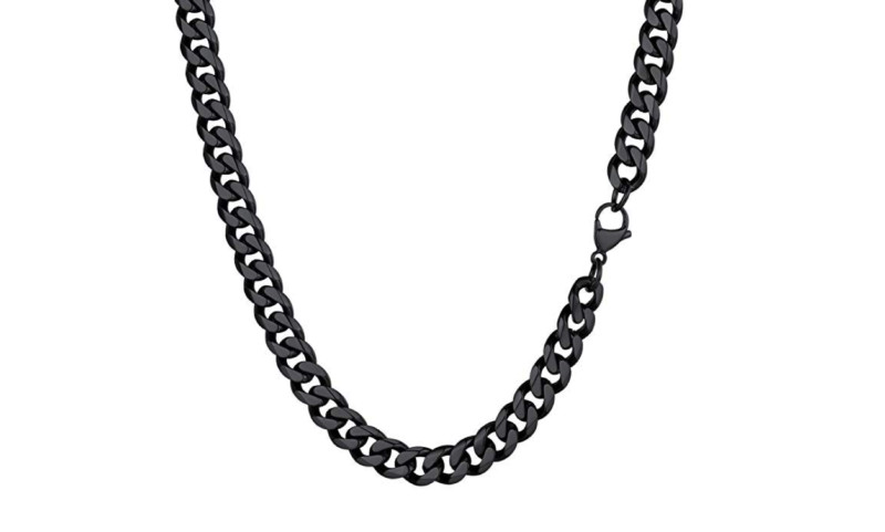 Mens Black Chain Necklace – Stainless Steel Curb Style, 7mm Width – Black ice©