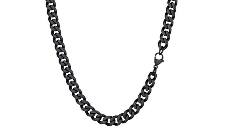 Mens Necklace Black Curb
