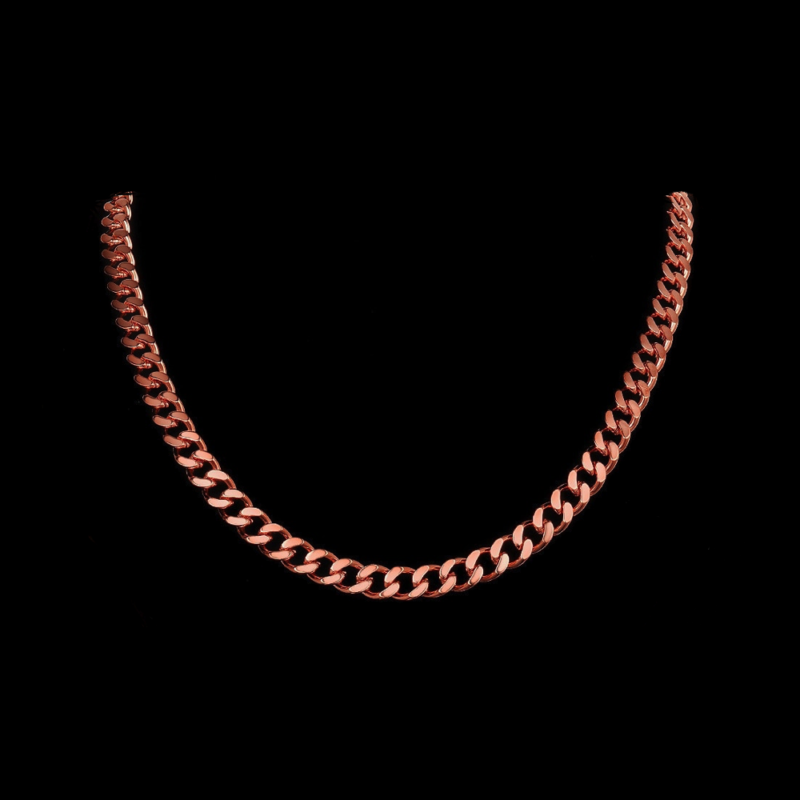 Mens Rose Gold Necklace Chain – Stainless Steel Curb Style, 7mm Width – Dusk©