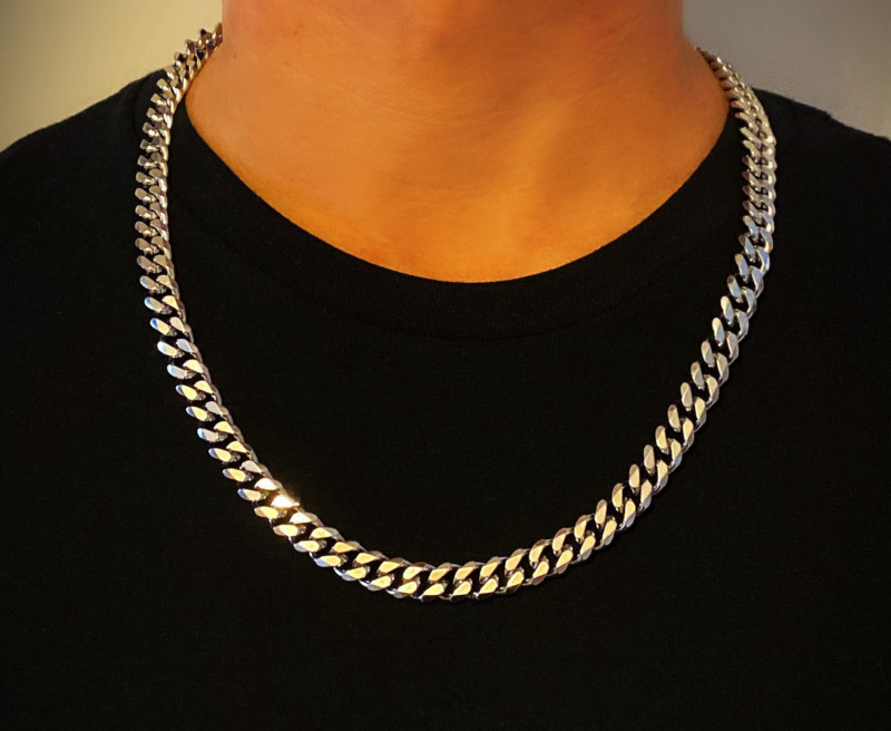 Mens Silver Chain Necklace – Stainless Steel Curb Style, 10mm Width – ice II©