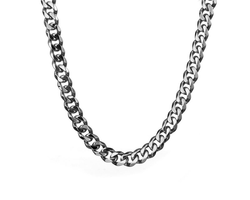 Women's Silver Chain Necklace – Stainless Steel Curb Style, 7mm Width – ice©